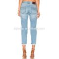 Hot sale big knee hole jeans pants bulk cotton sky blue stylish pants