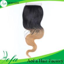 Ломбер Цвет Кружева Закрытие Волос Remy Человеческих Волос