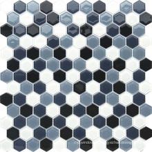Шестиугольная черно-серая кристаллическая мозаика для украшения