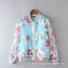 Latest Design Fashion Floral Printing Women Bomer Jacket