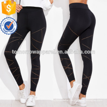 Black Eyelet Detail Leggings OEM/ODM Manufacture Wholesale Fashion Women Apparel (TA7024L)