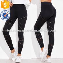 Black Eyelet Detalhe Leggings OEM / ODM Fabricação Atacado Moda Feminina Vestuário (TA7024L)