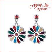 Fashion and Delicate Sterling Silver Splice Opal Earrings