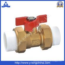 Doble conectores de latón PPR válvula de bola (YD-1002)