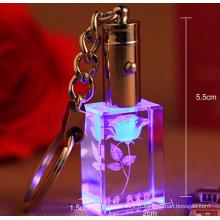 Porte-clés en cristal de verre laser personnalisé 3D