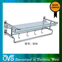 étagère d'évier de salle de bains de verre et d'acier inoxydable: B08