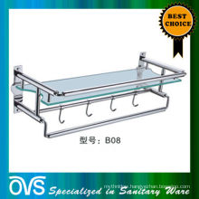 glass and stainless steel bathroom sink shelf:B08