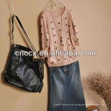12STC0575 vintage ladies bordado suéter