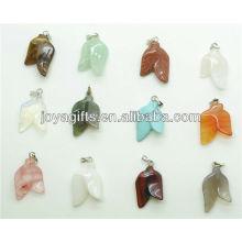 Double leaves shape natural pendant semi precious stone pendant