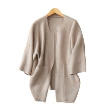 mangas del batwing de la manera de las mujeres que hacen punto la capa abrigos gruesos calientes del cuello O del invierno de la cachemira