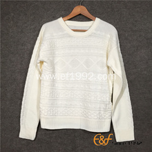 Plain Cable Knittd Long Sleeves Sweater for Women