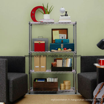 Approbation NSF Bricolage 4 Tiers Chrome Metal Wire Book Storage Rack