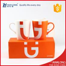 Taza linda de la taza de café de los pares de la porcelana fina / tazas de cerámica interesantes del par con la caja de regalo
