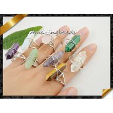 Mixed Stones Bagues ajustables à deux points, anneaux en pierres précieuses en quartz / agate / tigre plaqué argent (FR001)