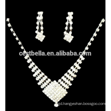 Cheap Rhinestone Bridal Earrings Wedding Bridal Jewelry Crystal Bridesmaid Earrings and Necklace