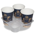 Disposable tea coffee juice plastic 4 cup tray