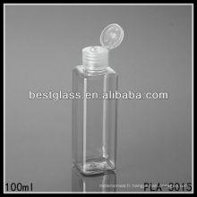 Bouteille en plastique de 100ml, bouteille carrée en plastique de 100ml, bouteille en plastique de lotion de 100ml