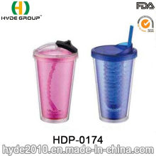 Großhandel BPA Free Double Wall Plastic Tumbler mit Strohhalm (HDP-0174)