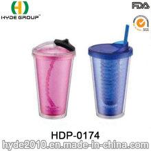 Venda al por mayor el vaso plástico libre de la pared doble de BPA con la paja (HDP-0174)