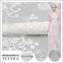 Chine personnalisé Haute qualité tricoté polyester voile tissus brodés pour les robes de mariée