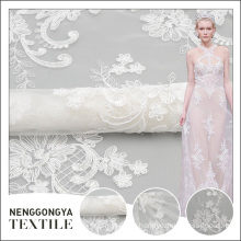 China custom High quality knitted voile polyester embroidered fabrics for wedding dresses