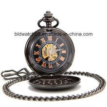 Weinlese-römische Blumen-Ziffern-volle schwarze Mann-Taschen-Uhr für Geschenk