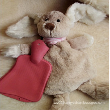 2014 Hot Sale Fluffy Hot Water Bottle With Plush Cover