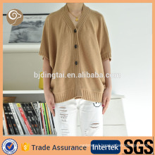 Cashmere knitted cardigan half sleeve sweater