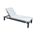 Outdoor Rattan Sun Lounger With PU Leather & Wheels