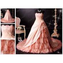 Foto real vestido de quinceañera de qualidade superior novo design vestido de noiva de renda rosa requintado RB062