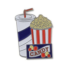 Movie Popcorn Black Nickel Plated Esmalte solapa Pin