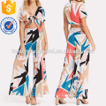 Knot Front Crop Top And Wide Leg Pants Set Manufacture Wholesale Fashion Women Apparel (TA4078SS)