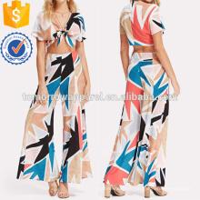 Knot Front Crop Top et pantalons à jambes larges Set Fabrication en gros Mode Femmes Vêtements (TA4078SS)