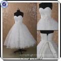 JJ2990 Beaded Hand Made Flower Tea Length Plus Size Vestidos de casamento