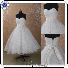 JJ2990 Beaded Main Made Flower Tea Length Plus Size Robes de mariée