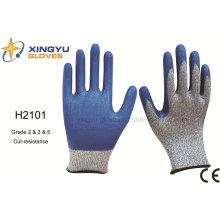 Hppe nitrilo revestido de corte de resistência luva de trabalho de segurança (H2101)