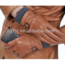 Manguito de punto de lana estilo nuevo guante de cuero completo de palma para pantalla táctil