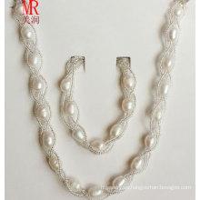 Arroz de agua dulce natural collar de perlas conjunto de pulsera