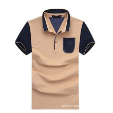 Men Two-Tone Cheap Blank Polo Shirt with Pocket (PS-068)