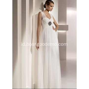 Empire Sheath Column, Sayang Straps Tulle Beading Draped Wedding Dress