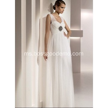 Empire Sheath Column Sweetheart Straps Panjang ke Lantai Tulle Beading Draped Wedding Dress