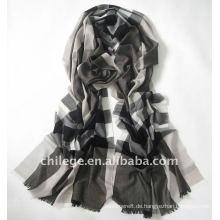 100% Wolle Tartan Plaid lange Schals-schwarz