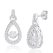 925 Silver Drop Dangle Earrings Dancing Diamond Jewelry