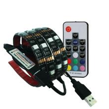 Tira do diodo emissor de luz de USB da fita do diodo emissor de luz do fundo da tevê de 1M 5050 RGB com o controlador de 3Key RGB