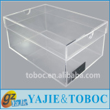 Custom clear acrylic shoe boxes, clear acrylic sneaker display box with lid