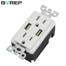 TR-BAS15-2USB Waterproof 15A 125V duplex universal ground receptacle