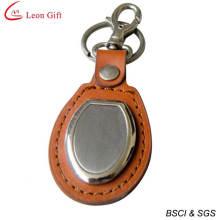 Promoção em branco couro Metal Keychain (LM1540)