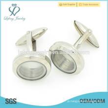 Mais vendidos de prata lisa simples aço inoxidável parafuso 316l locket flutuante abotoaduras para camisas mens