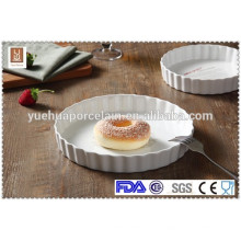 Weiße keramische runde Form pizza Platte Backenplatte Großhandel