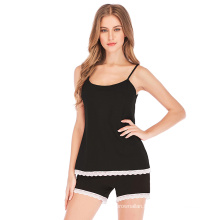 C6506 Hot Style Ladies Sexy Lace Suspenders Shorts Pajamas Suit  High-Grade Pure Cotton Breathable Wholesale Sexy Pajamas Women